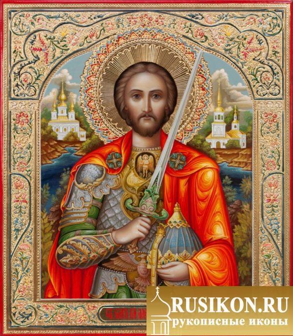 рукописная икона Святого Александра Невского