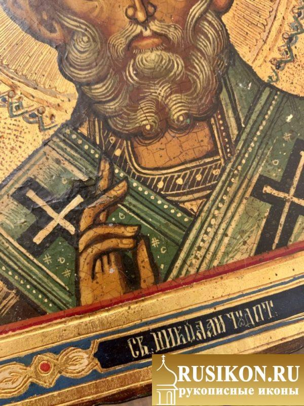 старинная икона Святого Николая Чудотворца