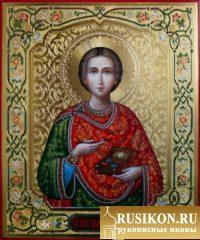 рукописная икона Святого целителя Пантелеймона