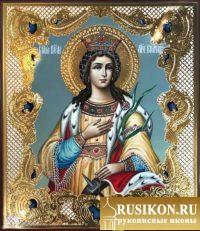 рукописная икона Святой Екатерины Александрийской