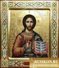 рукописная икона Спасителя, икона Господа Вседержителя