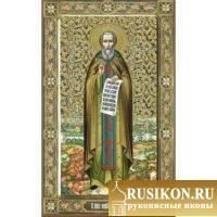 Мерная икона Святого Сергия Радонежского в технике чеканка по золоту