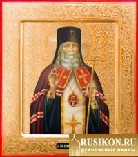 Икона Святого Луки Крымского на золоте с резьбой