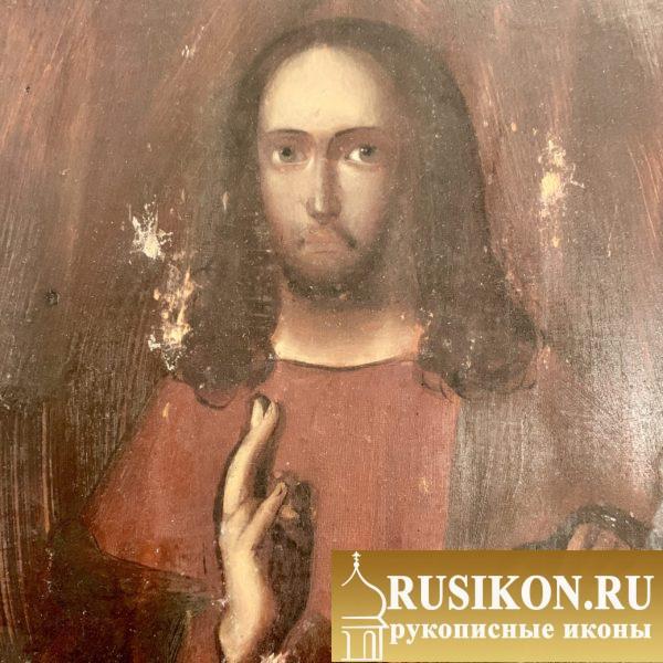 Старинная икона Спасителя в латунном окладе