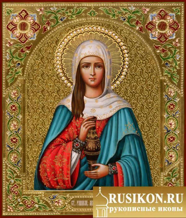 Икона Святой Марии Магдалины в технике чеканка по золоту