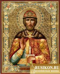 Икона Святого Олега Брянского в технике чеканка по золоту