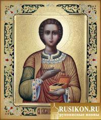 Икона Святого целителя Пантелеймона в технике чеканка по золоту