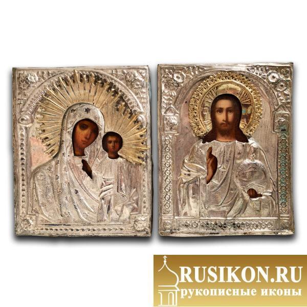 Старинная венчальная пара в окладах - Казанский образ Богородицы и Спаситель