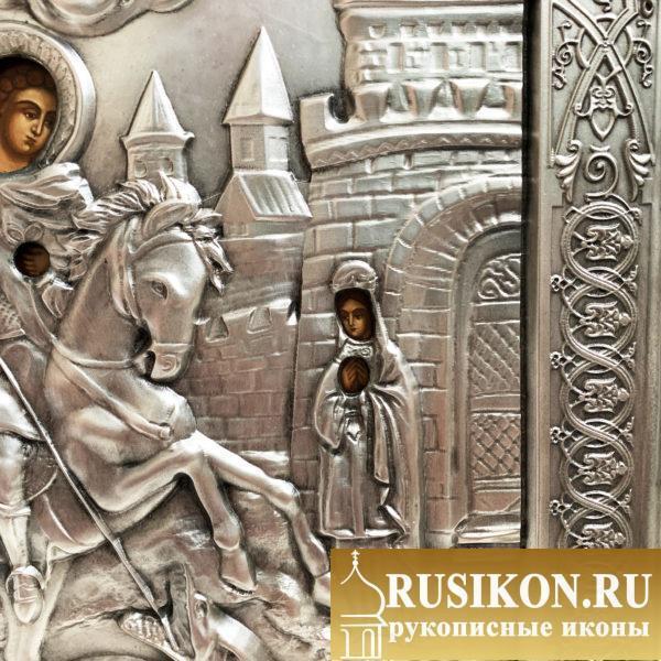 Икона Георгия Победоносца, Чудо о змие в окладе