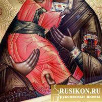 Владимирская икона Богородицы в технике чеканка по золоту