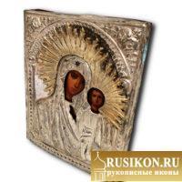Старинная Казанская икона Богородицы в окладе