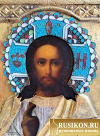 Старинная икона Спасителя в окладе, горячие эмали на венце