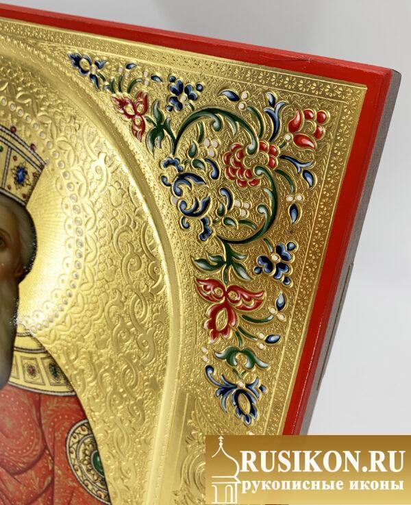 Икона Владимира Равноапостольного в технике чеканка по золоту