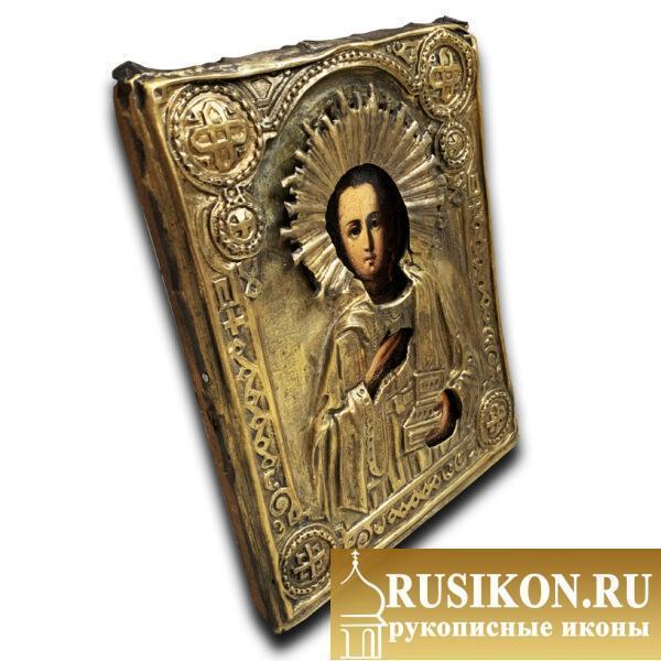 Старинная икона Святого Пантелеймона в окладе