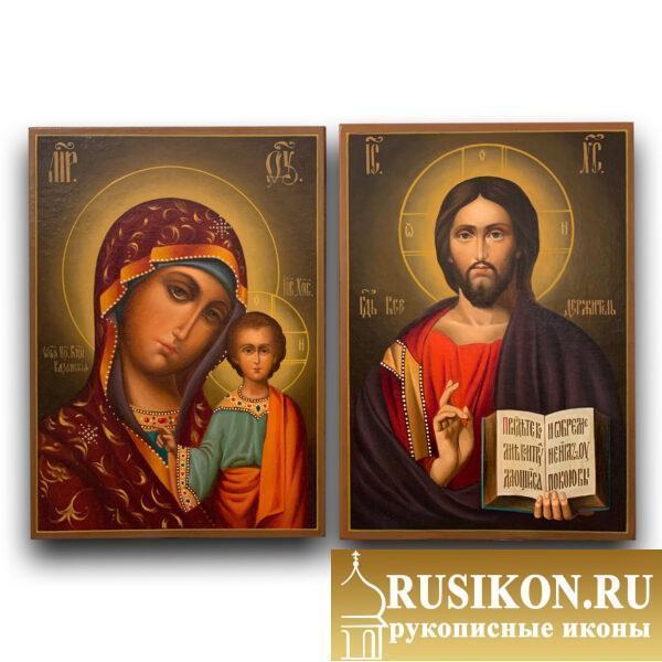 Венчальная пара Казанская икона и Спаситель, масло