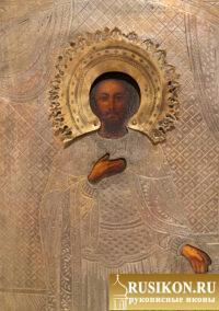 Старинная рукописная икона Святого Александра Невского в окладе