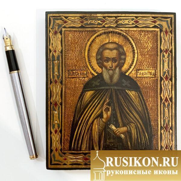 Старинная икона Святого Сергия Радонежского в технике чеканка по золоту, миниатюра