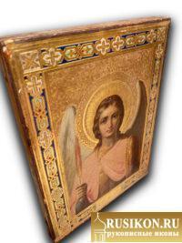 Старинная икона Святого Архангела Михаила в технике чеканка по золоту