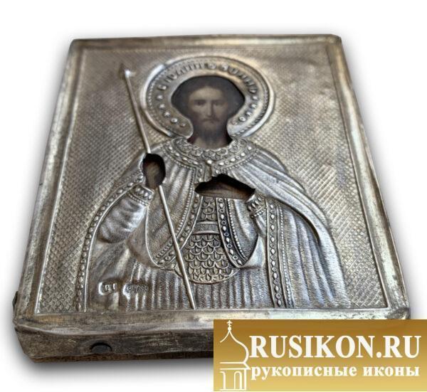 Старинная икона Святого Иоанна Воина в серебряном окладе