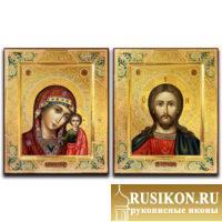 Венчальная пара - Казанский образ Богородицы и Спаситель в технике чеканка по золоту