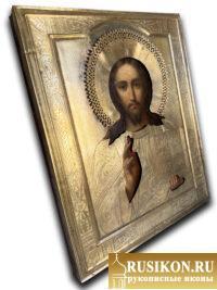 Старинная икона Спасителя в окладе
