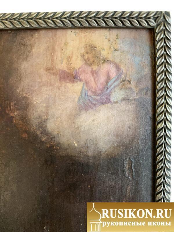 Старинная икона Святой Анастасии Узорешительницы в серебряной рамке
